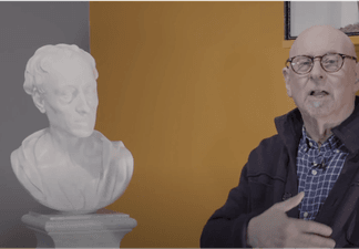 Malcolm Baker presenting his research into the Bust of Alexander Pope, at the Shipley Art Gallery