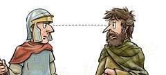 cartoon of native Briton and Roman soldier