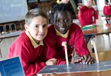 School children doing an activity
