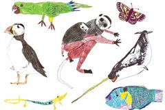 Collage of children's drawings of various wild animals
