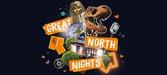 Orange and blue graphic with the words 'Great North Nights'