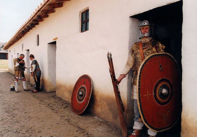 Roman soldiers outside the reconstructed barrack block