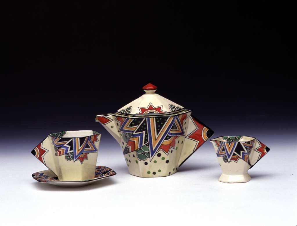 Decorative ceramic tea pot and cups