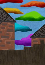 A digital drawing of a fence, two houses and the sky. The sky has several clouds in various colours.