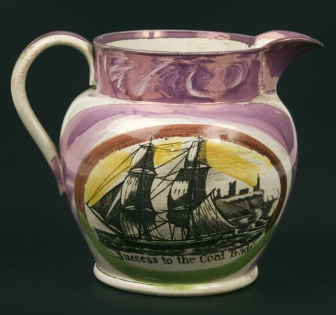 Decorative jug with sailing ship and inscription 'success to the Coal Trade'.