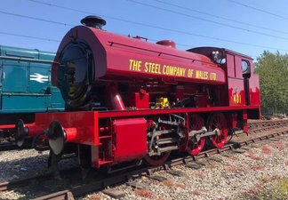 Red locomotive 401