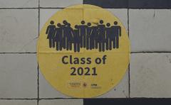 A vinyl floor sticker saying class of 2021