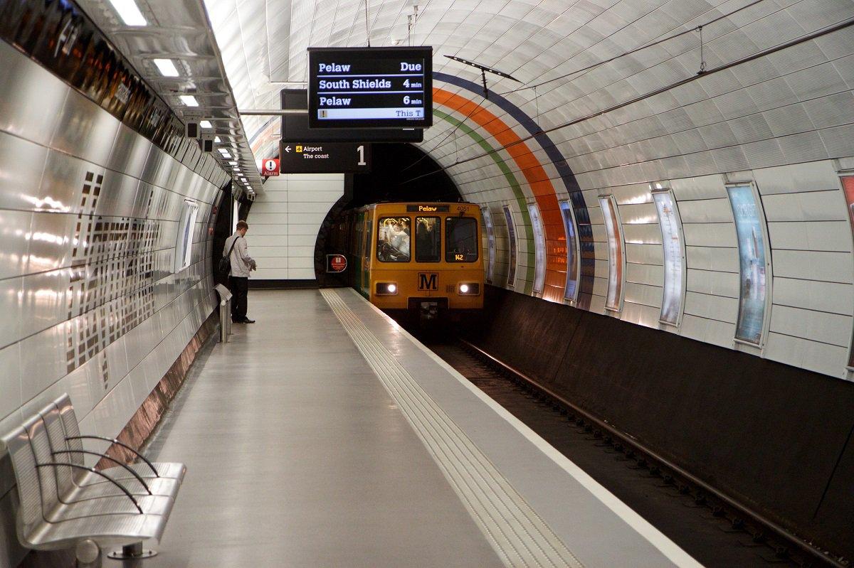 A train pulls into the platform at Haymarket Metro station, Newcastle