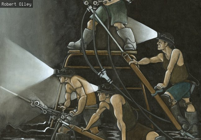 Oil painting depicting 4 miners underground