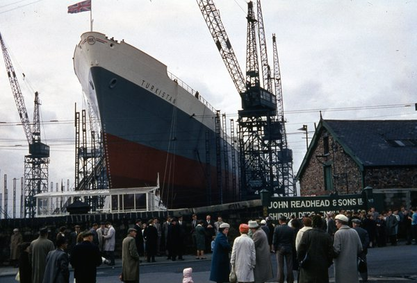 The launch of the refrigerated cargo ship 'Turkistan' at Readheads shipyard, South Shields, 12 September 1962. 35mm slide by Ronald Sanderson of South Shields.