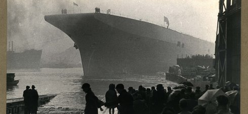 HMS Albion afloat on the River Tyne after launch by Swan Hunter and Wigham Richardson Ltd 1947