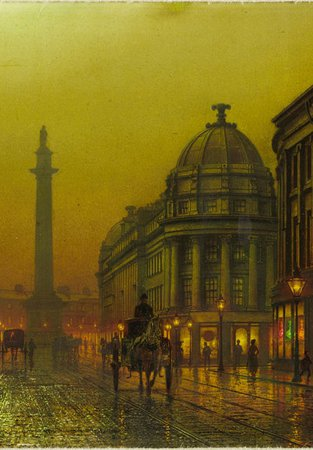 A painting of Grainger Street, Newcastle upon Tyne showing a horse and cart