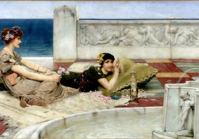 Painting, oil on canvas, entitled 'Love in Idleness or Love's Votaries', by the artist Sir Lawrence Alma-Tadema. It shows two ladies lounging by a fountain.