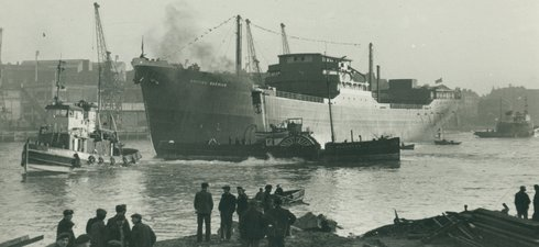 Tanker 'British Warrior' afloat on the River Wear after launch by J.L. Thompson & Sons, North Sands, 22 February 1951